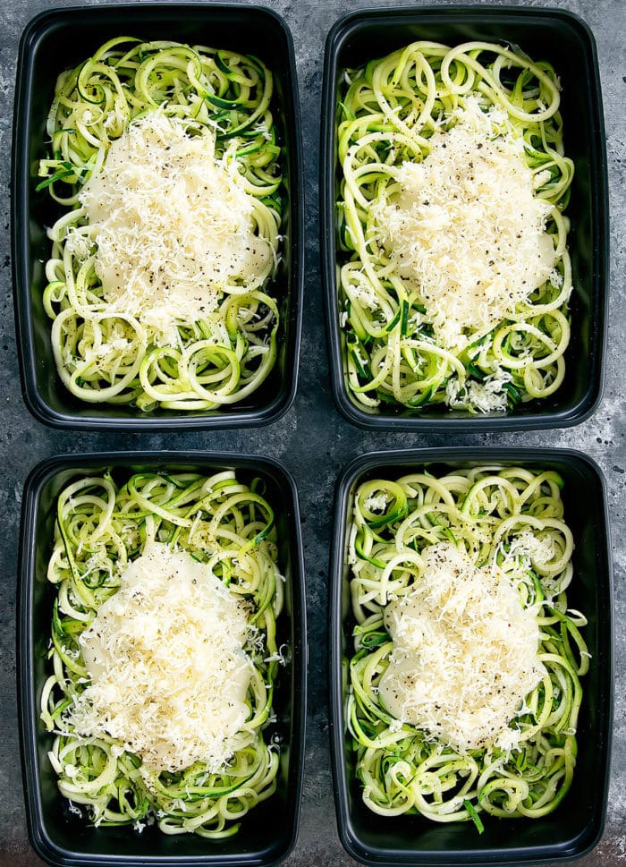 Skinny Zucchini Noodle Alfredo Meal Prep