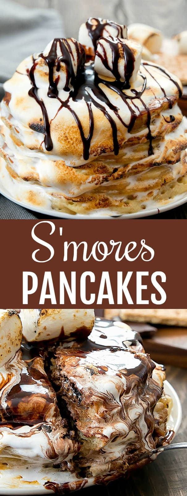 S'mores Pancakes. Graham crackers and chocolate chips studded pancakes topped with torched marshmallow fluff and chocolate syrup. A fun breakfast or brunch treat!