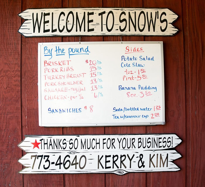photo of the menu at Snow's BBQ