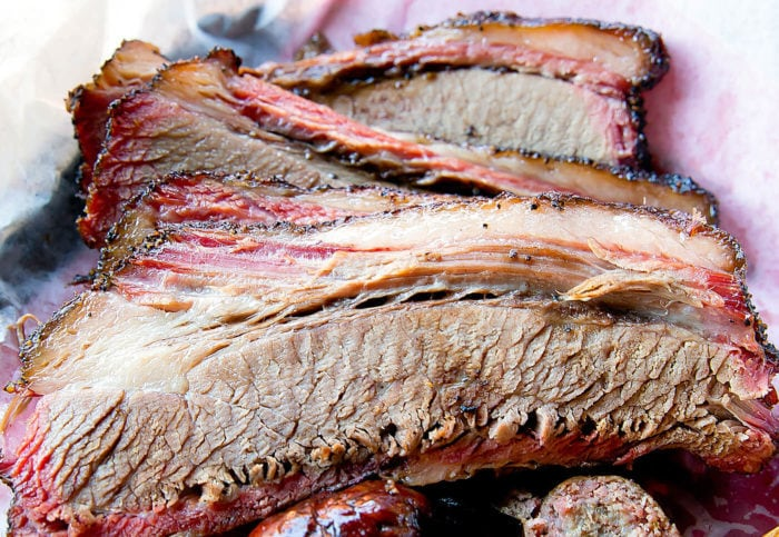 close-up photo of sliced brisket at Snow's BBQ