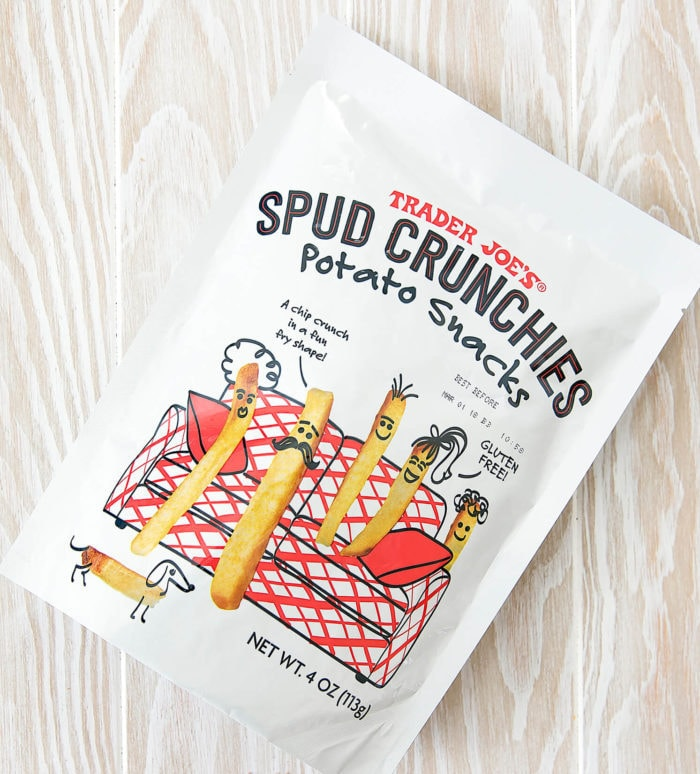 overhead photo of a package of Spud Crunchies