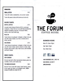 photo of the first part of the menu at The Forum Coffee House