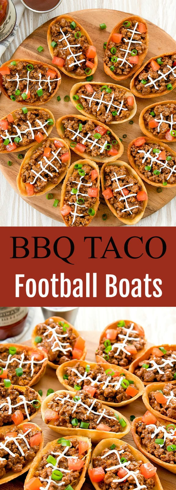 BBQ Taco Football Boats. Crispy taco boats piped with laces to resemble footballs. Perfect for tailgating or a game day party.