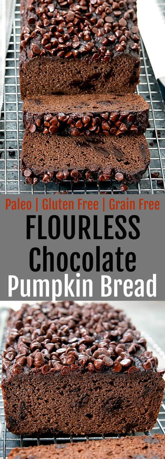 Flourless Paleo Chocolate Pumpkin Bread