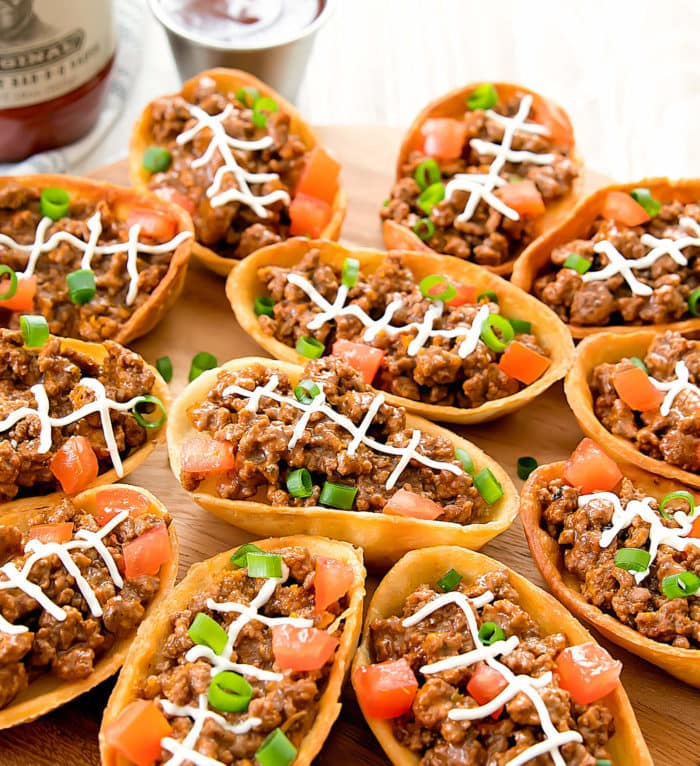 close-up photo of BBQ Taco Football Boats