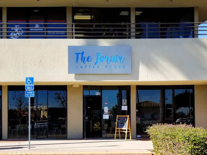 photo of the outside of The Forum Coffee House