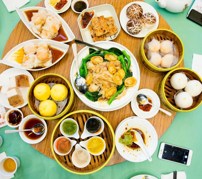 overhead photo of different dim sum dishes