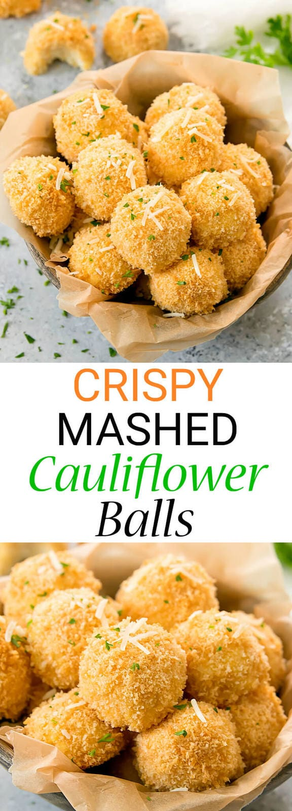 Crispy Baked Mashed Cauliflower Balls. A fun way to served mashed cauliflower and a good way to use up leftover mashed cauliflower.