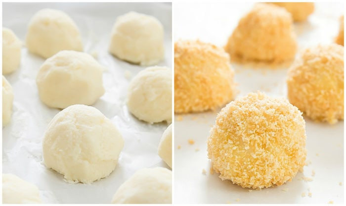 two step by step photos showing how to roll the balls and coat them in the breadcrumbs