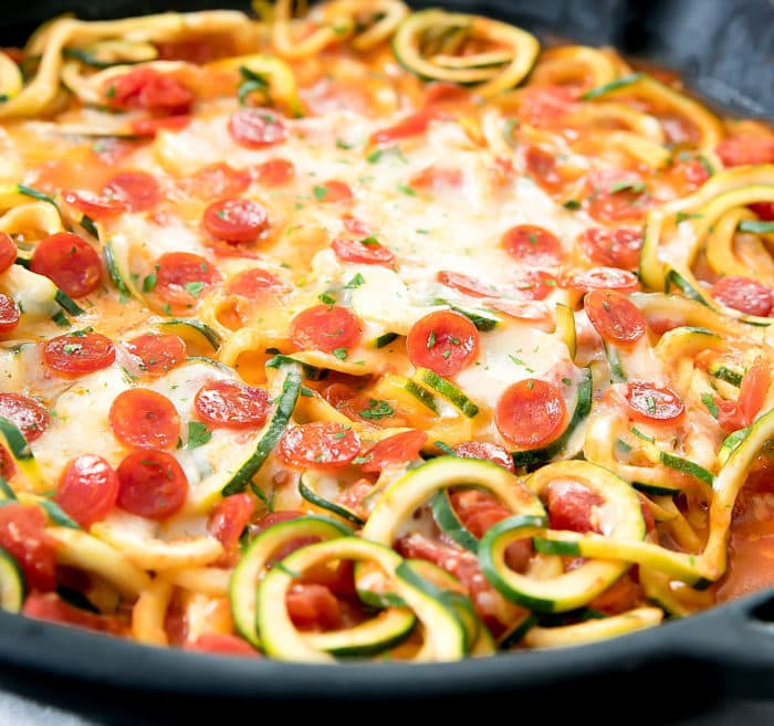 close-up photo of Pizza Zucchini Noodles