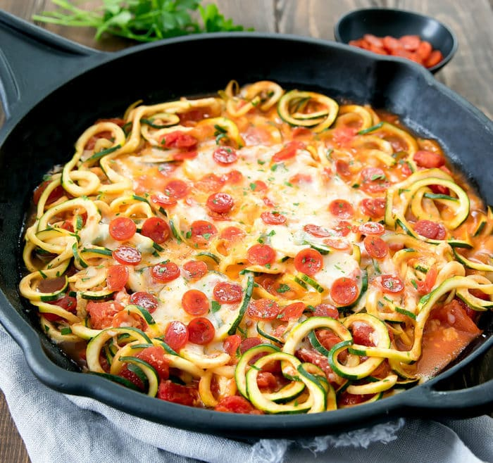 photo of a skillet of Pizza Zucchini Noodles