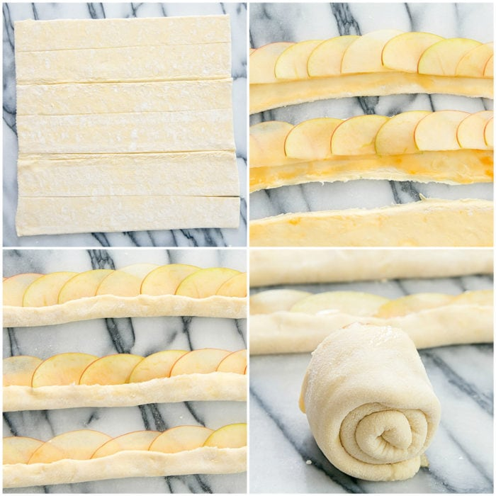 step by step photo collage showing how to roll out the dough and assemble the Apple Rose Tarts