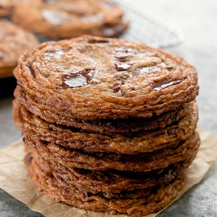 close-up photo of a stack of chocolate chip cookies