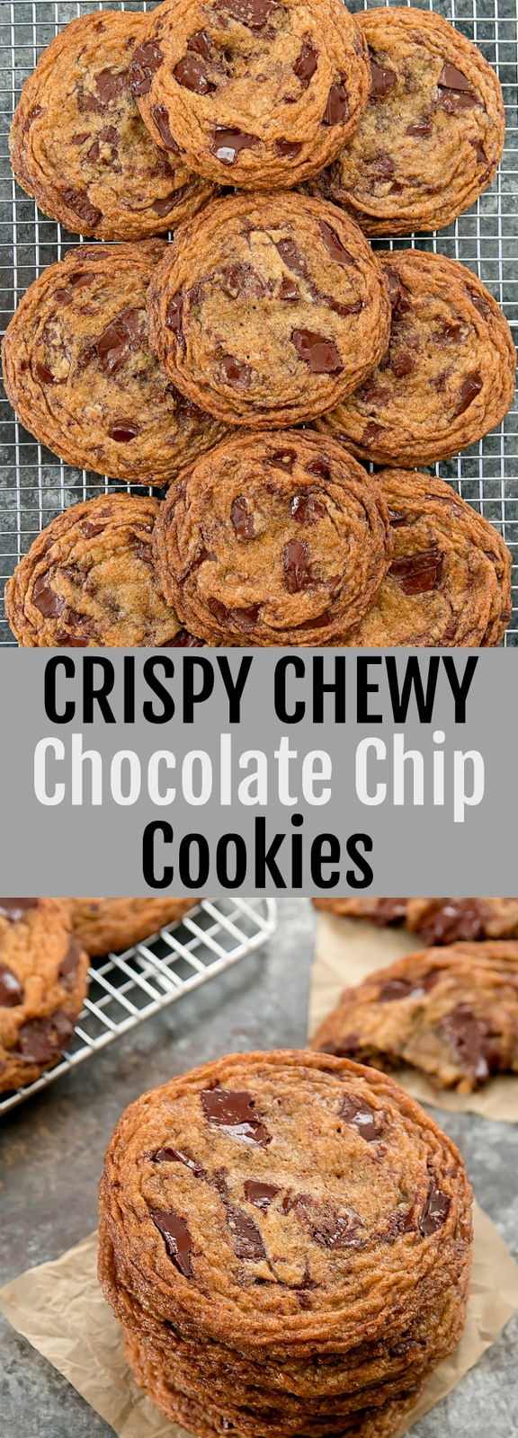 Crispy Chewy Chocolate Chip Cookies loaded with chocolate chunks. These bakery-style cookies have crinkled edges and are thin, crispy and chewy.
