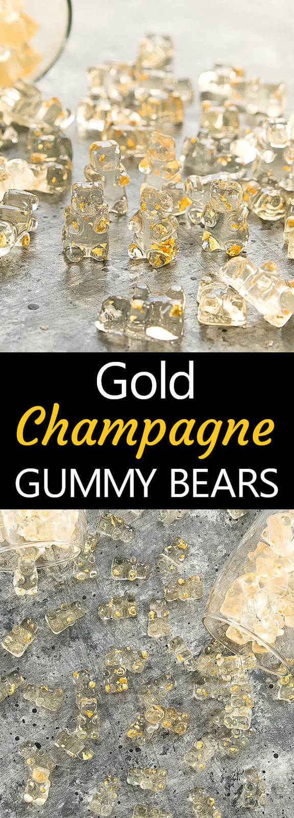 Gold Champagne Gummy Bears. Homemade champagne flavored gummy bears with edible gold flakes. Perfect for a party or for gifting.