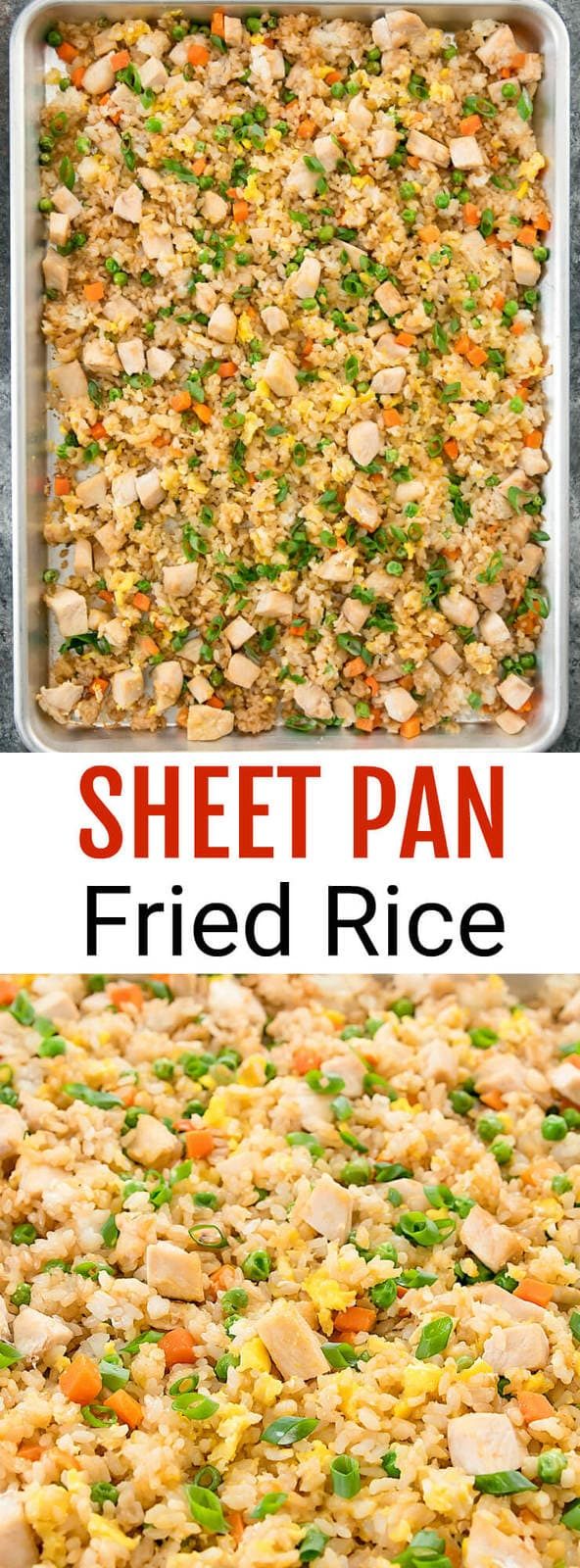 Sheet Pan Fried Rice. A healthier baked fried rice that cooks on a single sheet pan.