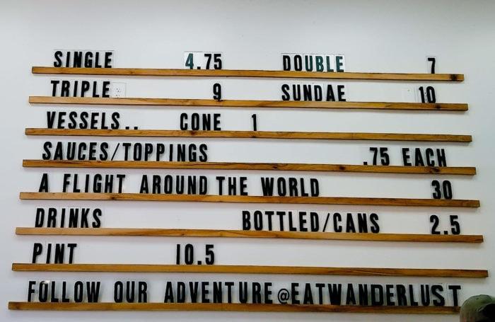 photo of the menu at Wanderlust Creamery