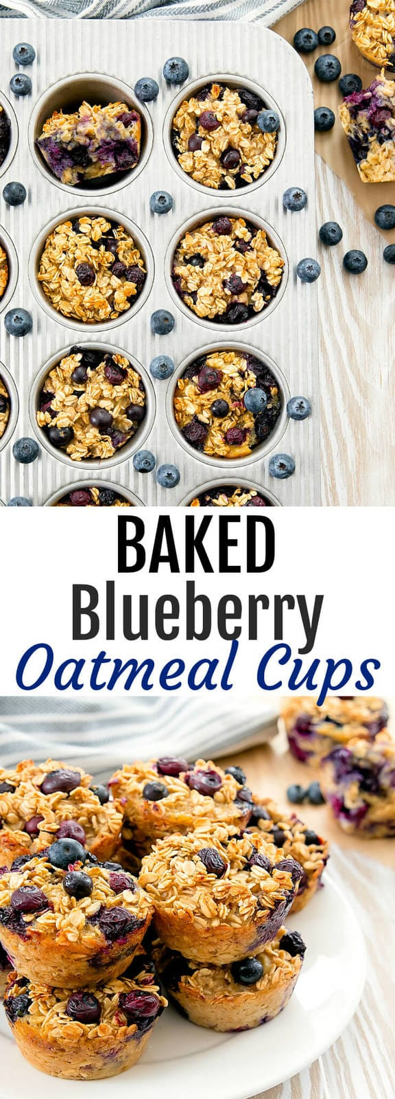 Baked Blueberry Oatmeal Cups. An easy healthy breakfast that can be made ahead of time. Great for meal prep or on-the-go.
