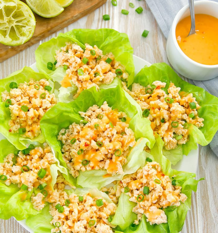 overhead photo of Bang Bang Chicken Lettuce Wraps