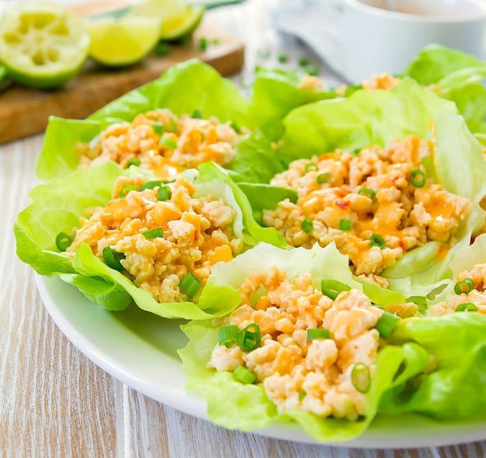 close-up photo of Bang Bang Chicken Lettuce Wraps