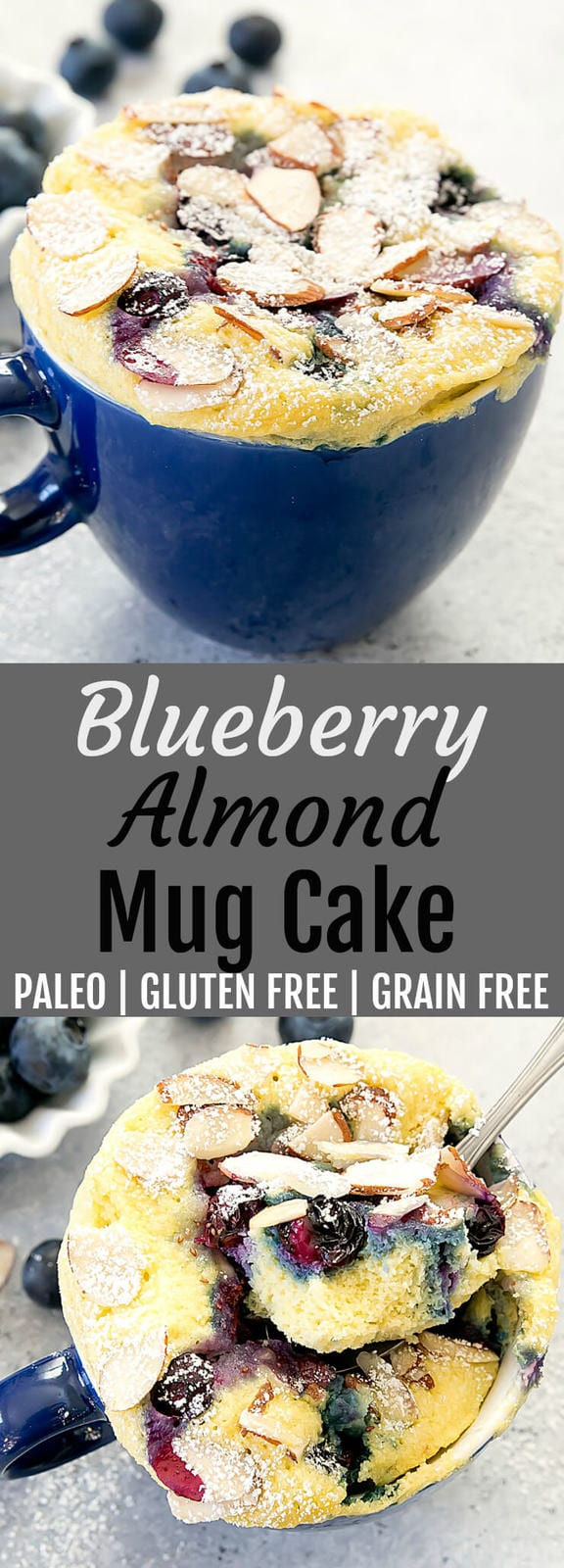 Blueberry Almond Mug Cake. Gluten free, wheat flour free and paleo. This fluffy single serving cake cooks in the microwave in less than 2 minutes.