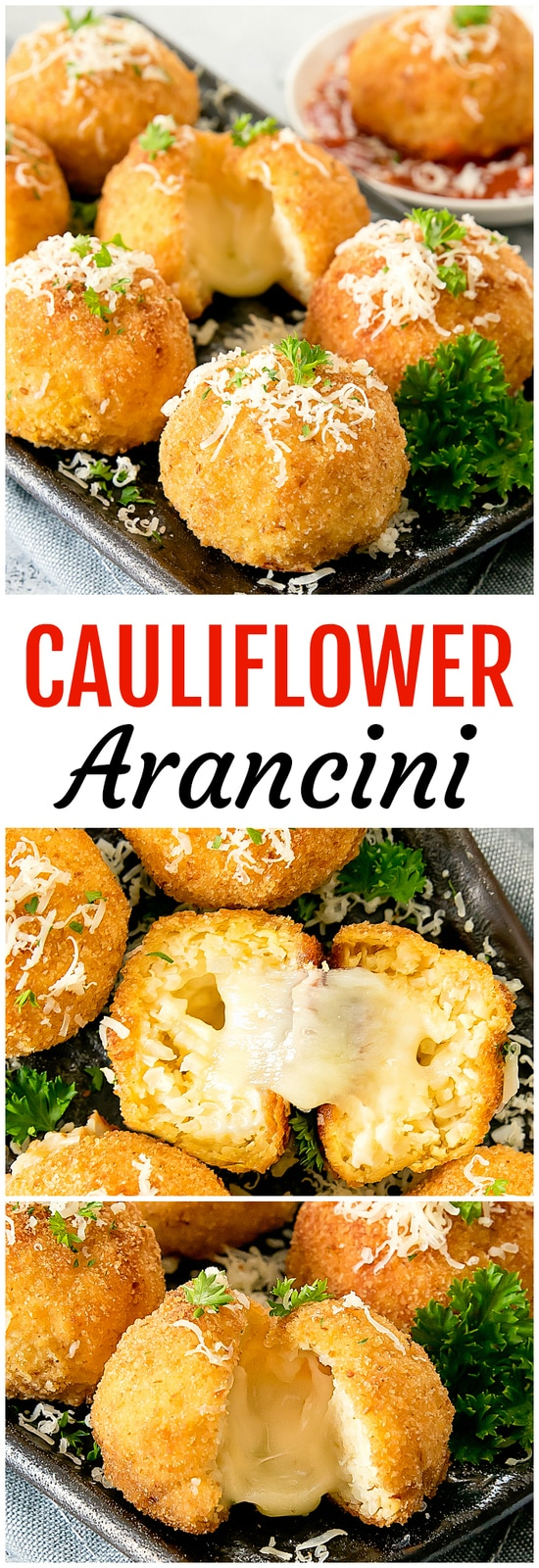 Cauliflower Arancini. Baked crispy cauliflower rice balls stuffed with cheese. A healthier alternative to traditional arancini.