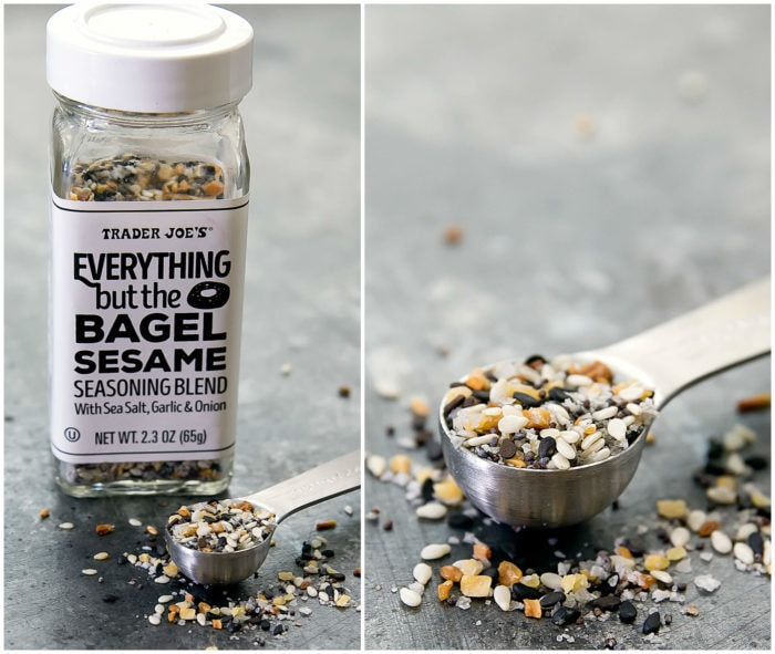 a photo collage showing a container of everything seasoning and one photo showing a spoonful of the seasoning