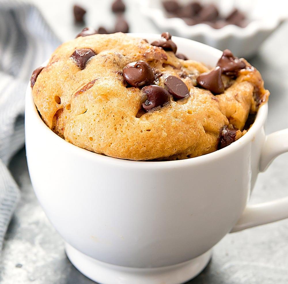 Flourless Peanut Butter Chocolate Chip Mug Cake - Kirbie's ...