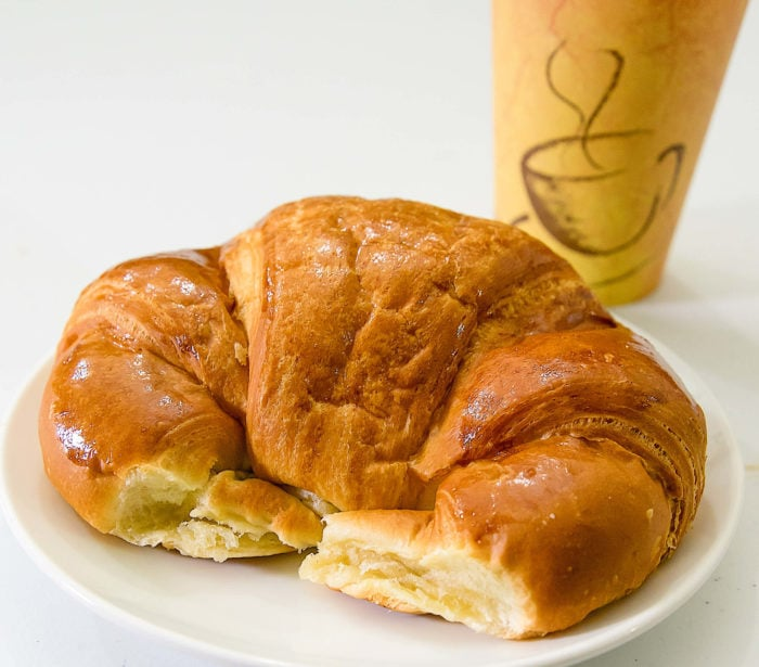 photo collage of  giant croissants and a chocolate cream cheese filled pastry