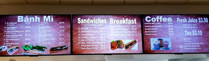 photo of the menu at K Sandwiches