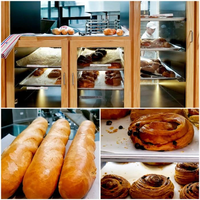 photo collage of different kinds of fresh baked bread and pastries at K Sandwiches