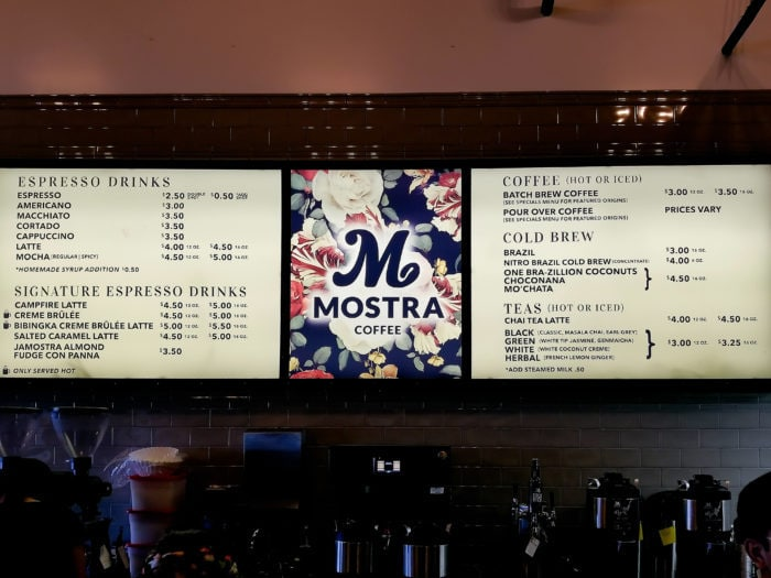 photo of the menu at Mostra Coffee