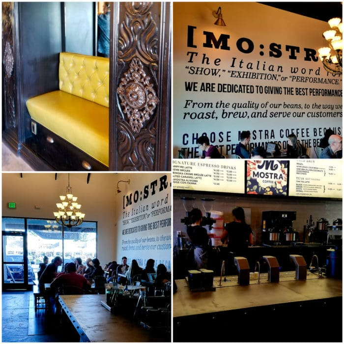 photo collage of the inside of Mostra Coffee