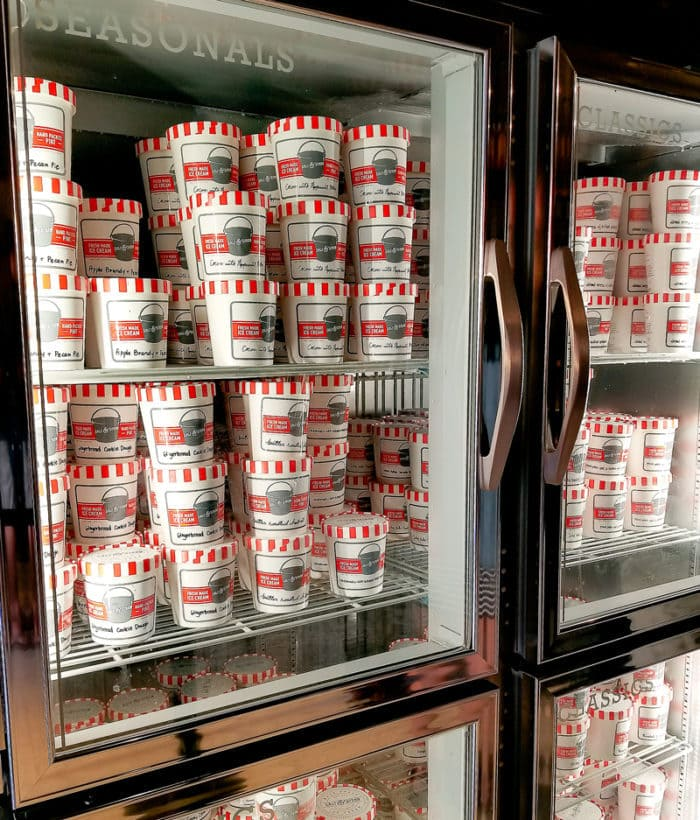photo of a case filled with pints of ice cream