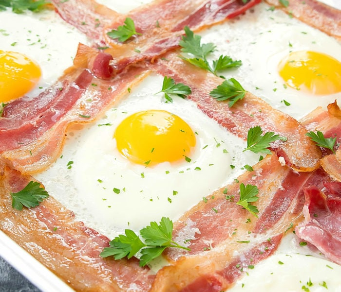 close-up photo of Sheet Pan Bacon and Eggs