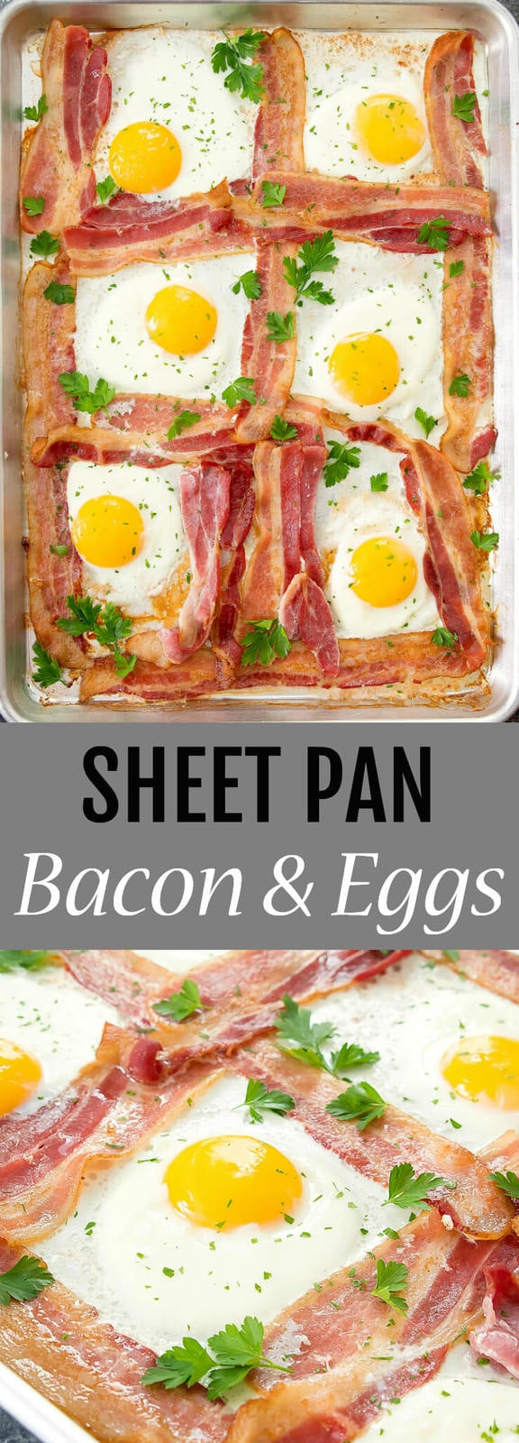 Sheet Pan Bacon and Eggs. An easy solution for breakfast or brunch for your family.