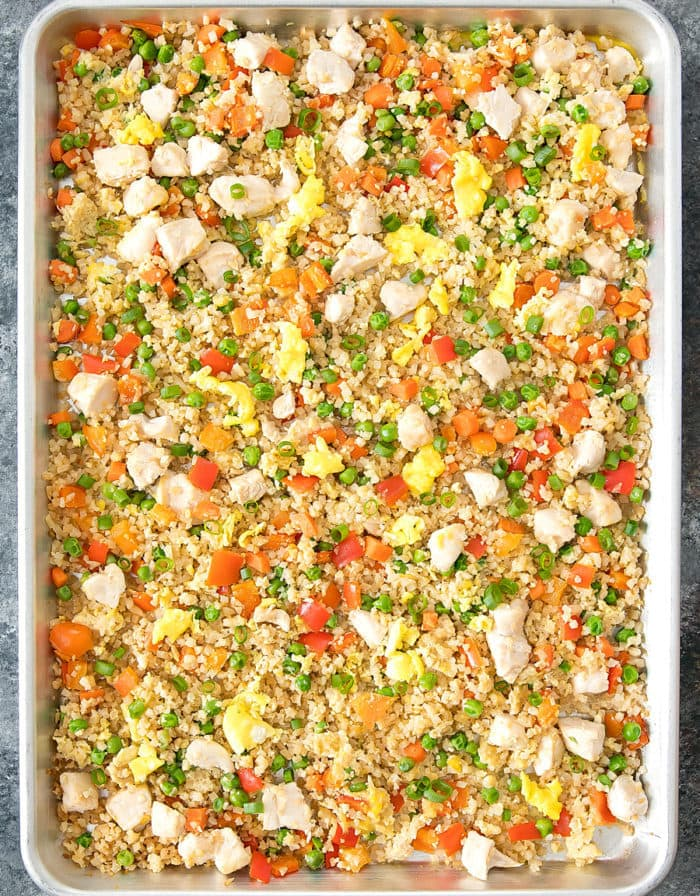 overhead photo of Sheet Pan Cauliflower Fried Rice