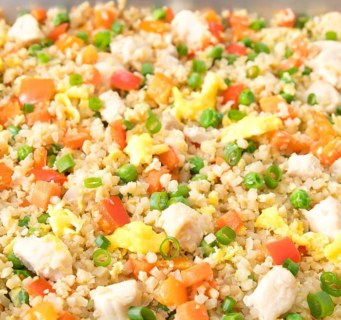 close-up photo of Sheet Pan Cauliflower Fried Rice
