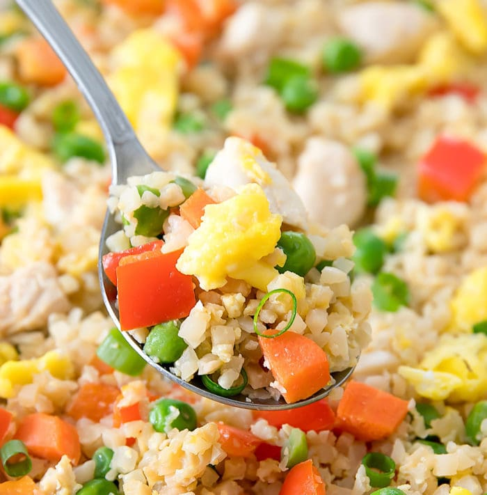close-up photo of a spoonful of Sheet Pan Cauliflower Fried Rice