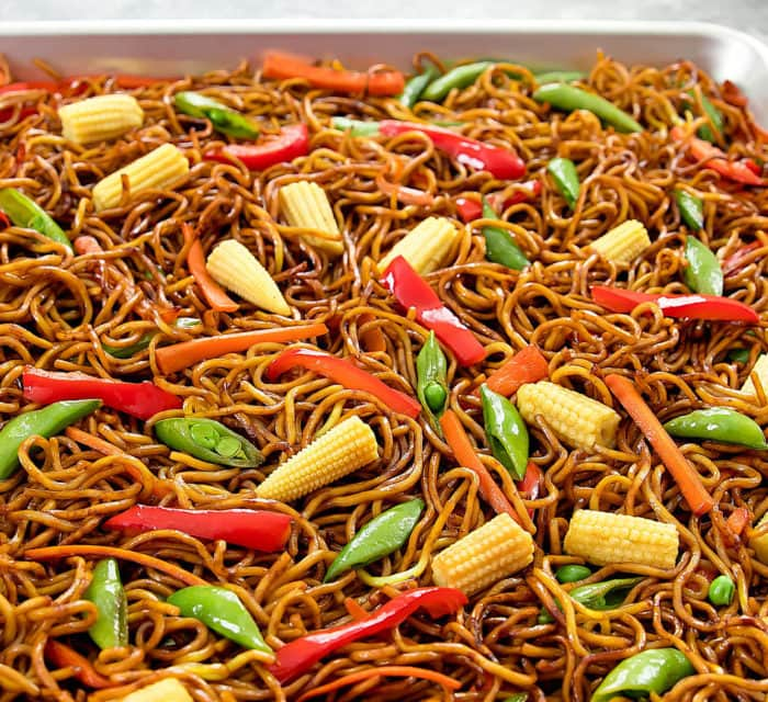 close-up photo of  Sheet Pan Chow Mein
