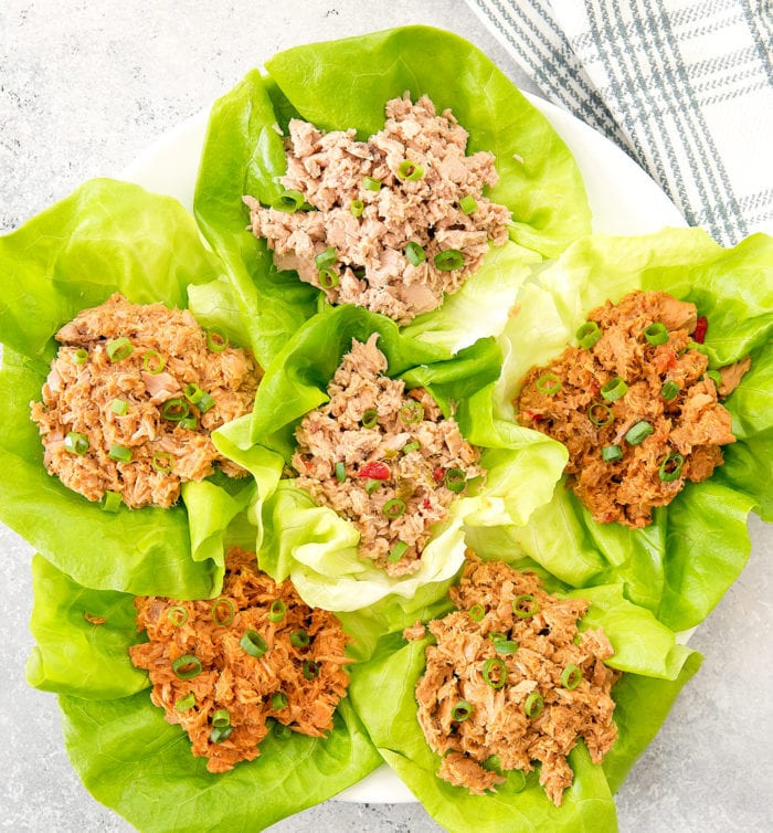 overhead photo of Tuna Lettuce Wraps