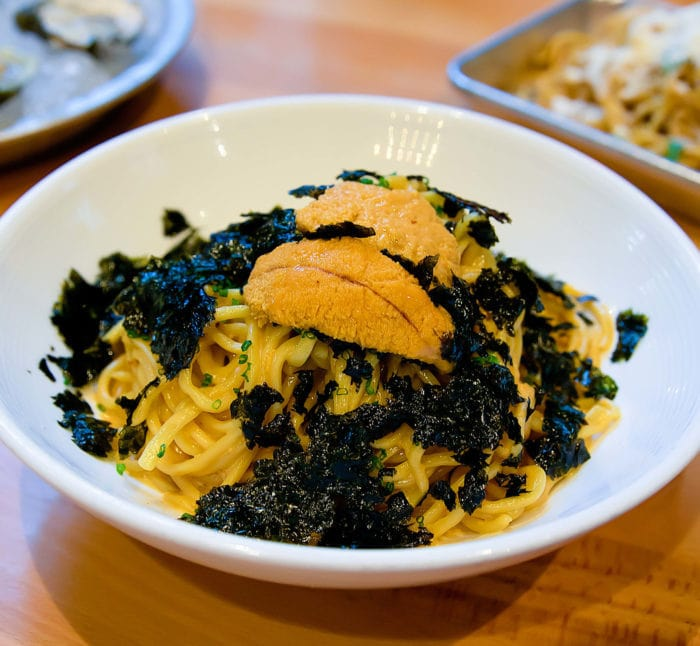 photo of a bowl of Uni pasta from EMC Seafood & Raw Bar