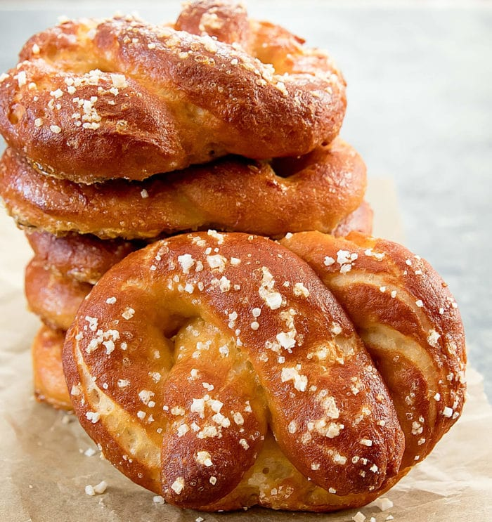 stack of soft pretzels