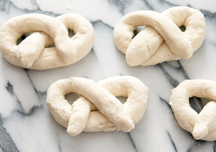 process photo showing how to tie the pretzels