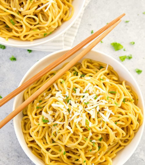 photo of a bowl of garlic noodles