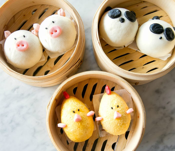 overhead photo of character steam buns from Harumama Noodles and Buns