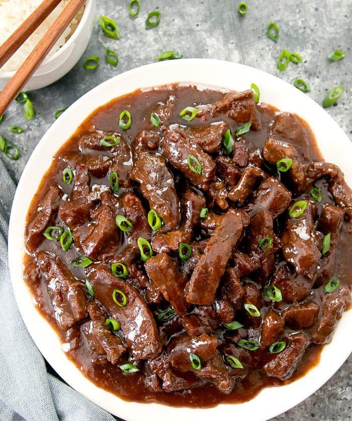 overhead photo of  Mongolian Beef
