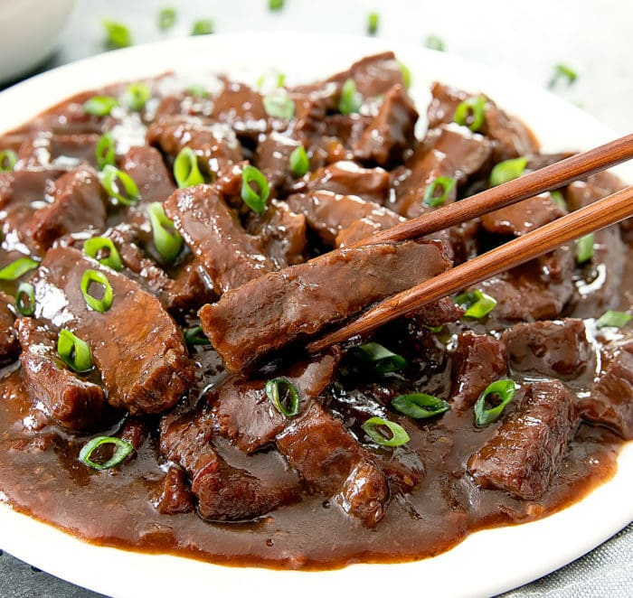 photo of a plate of mongolian beef