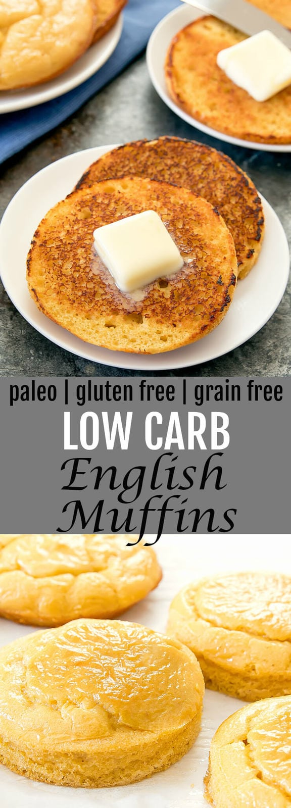 Low Carb English Muffins. An easy one bowl recipe that makes fluffy low carb paleo and gluten free breads that are a great alternative to toasted English muffins