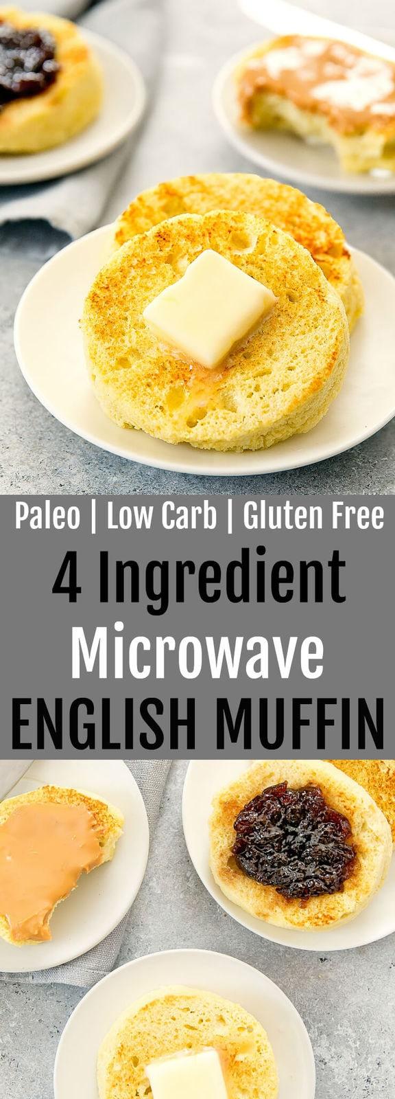4 ingredient microwave paleo low carb english muffin - kirbie's cravings